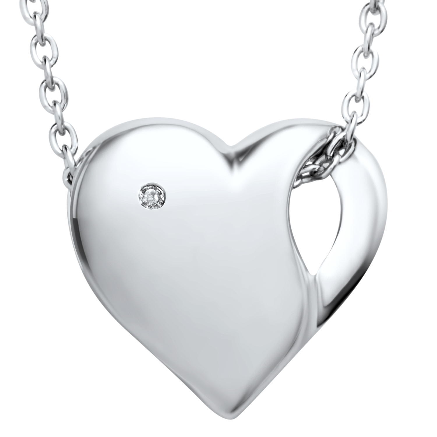 "Rhodium Plated Sterling Silver 18"" Diamond Heart Pendant Necklace"