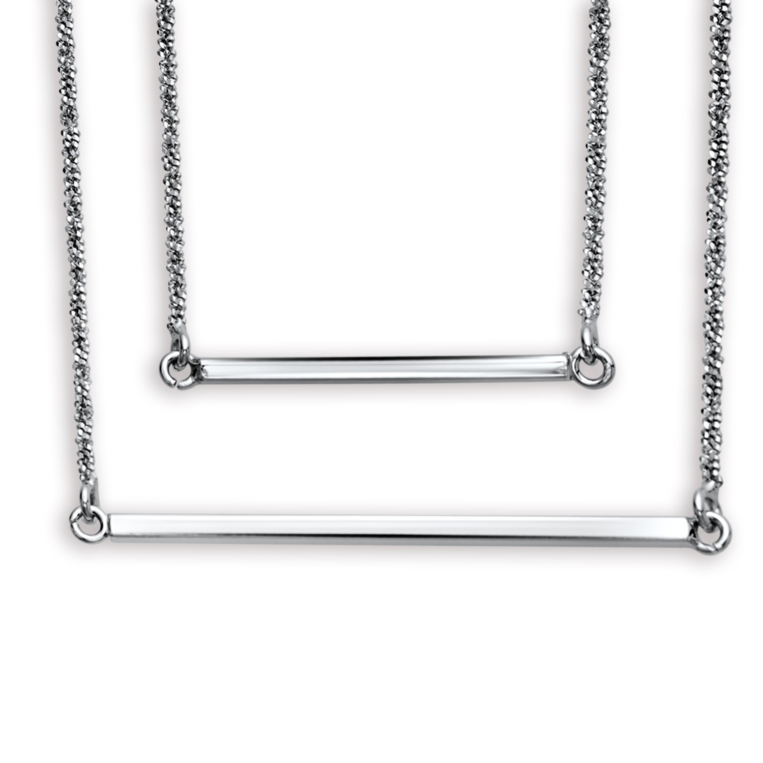 "Rhodium Plated Sterling Silver 16"" Double Layer Necklace"