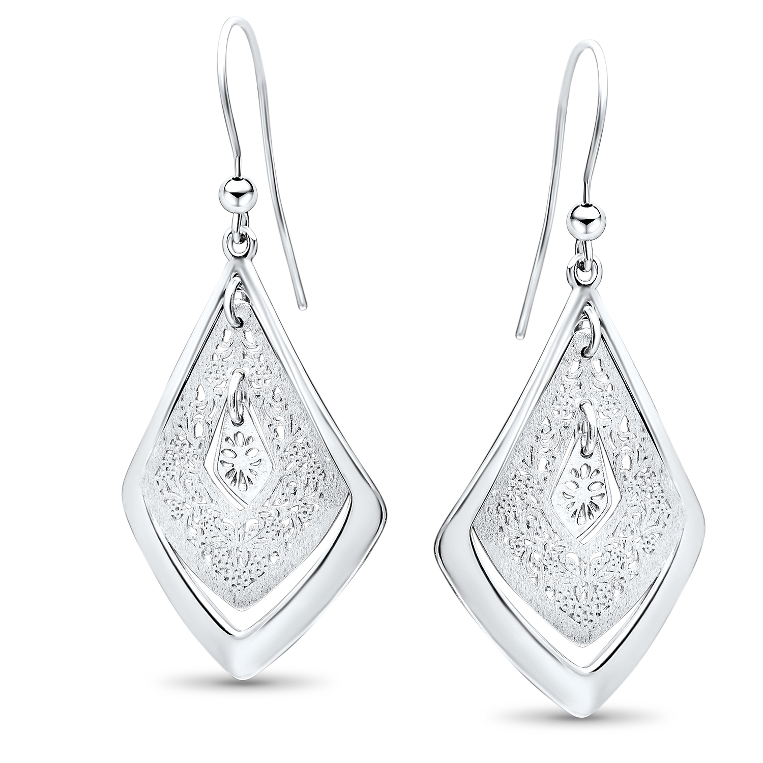 Sterling Silver Polished Scratch-Finish Filigree Earrings