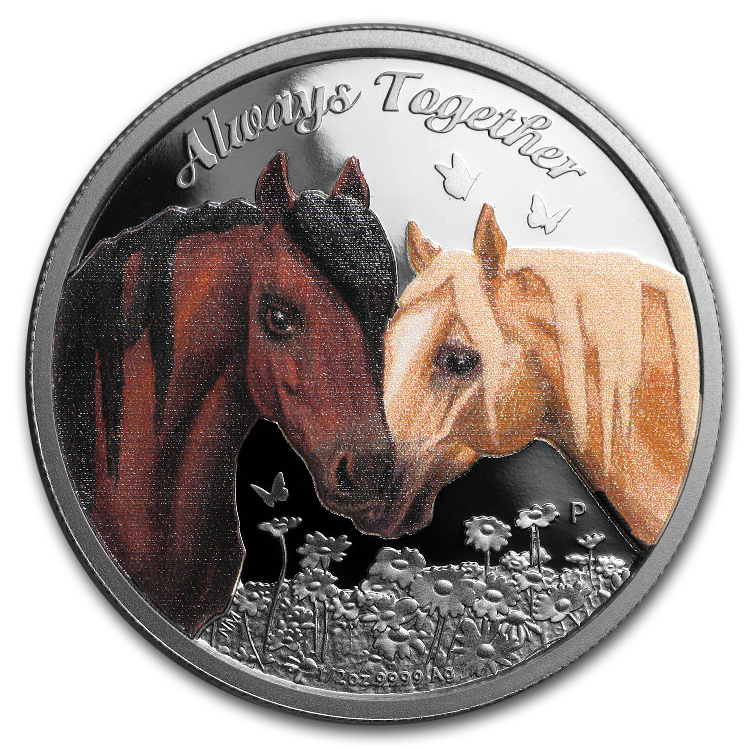 2017 Tuvalu 1/2 oz Silver Always Together Horses Proof