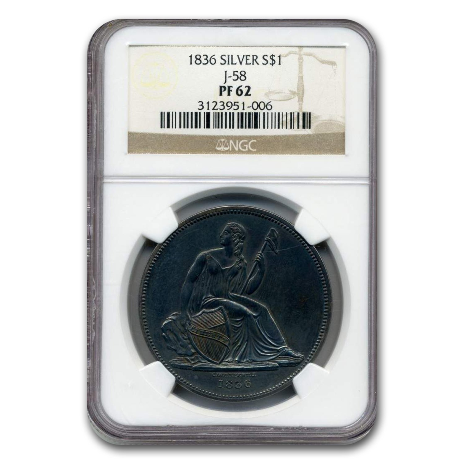1836 Liberty Seated Dollar PF-62 NGC (Judd-58)