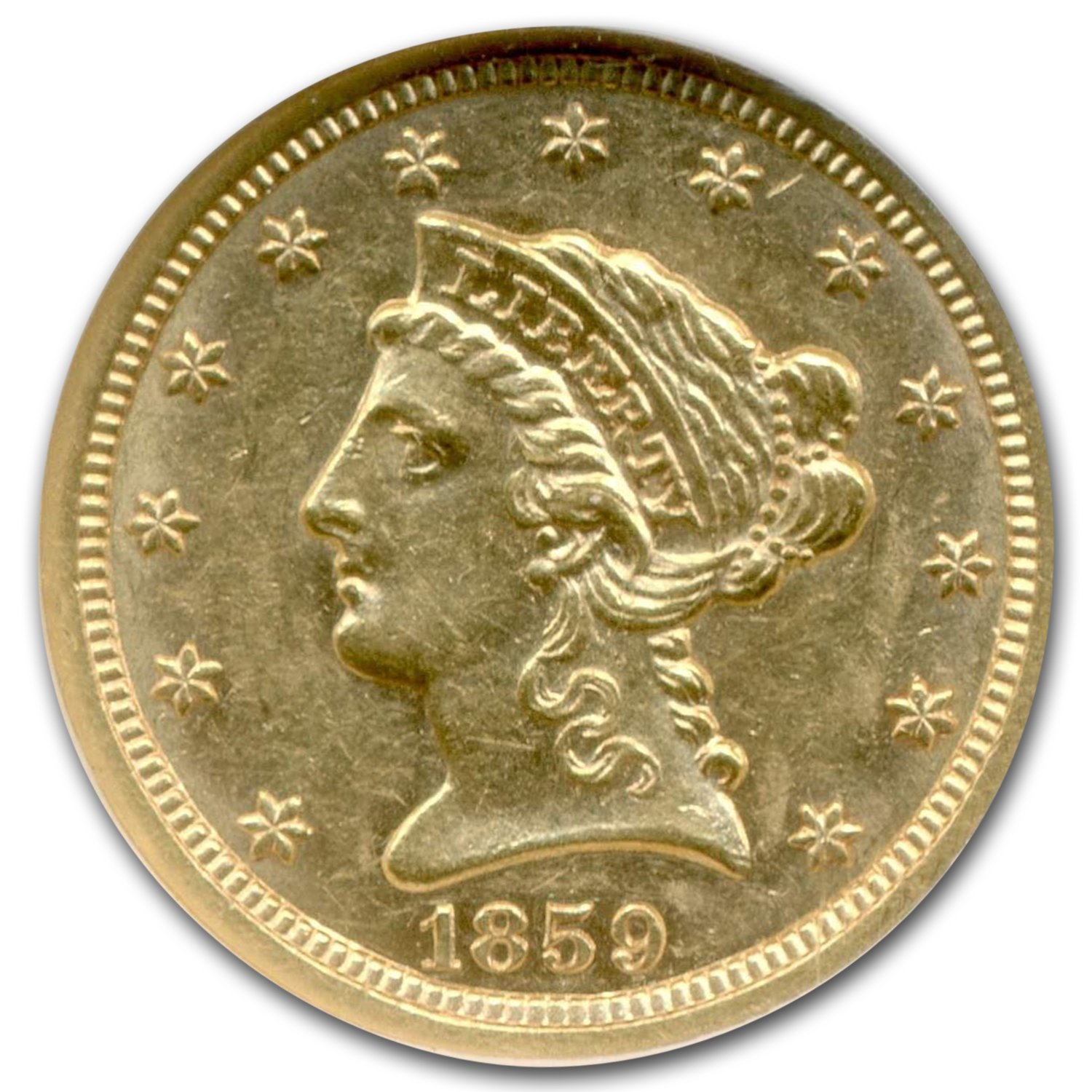 1859-S $2.50 Liberty Gold Quarter Eagle AU-58 NGC
