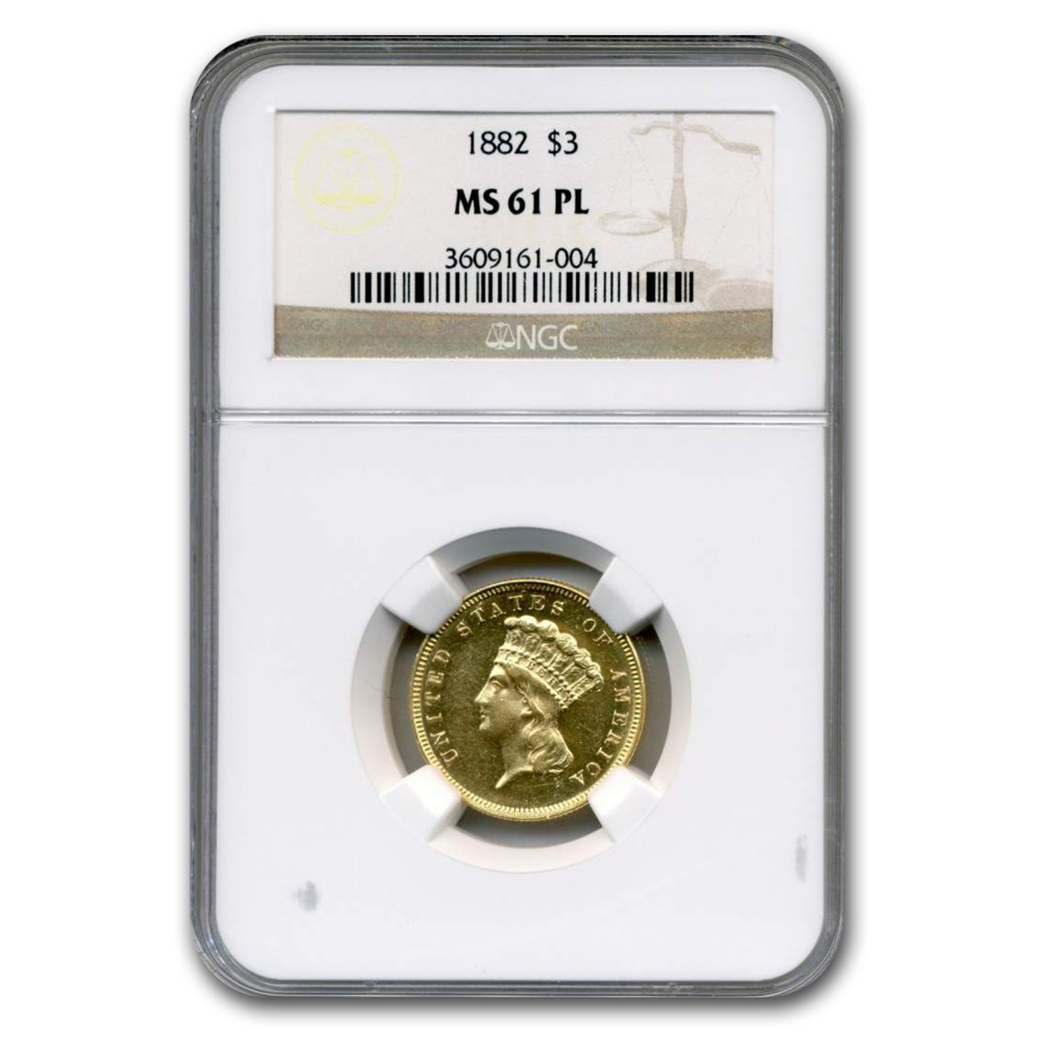 1882 Gold $3 Princess MS-61 NGC (PL)