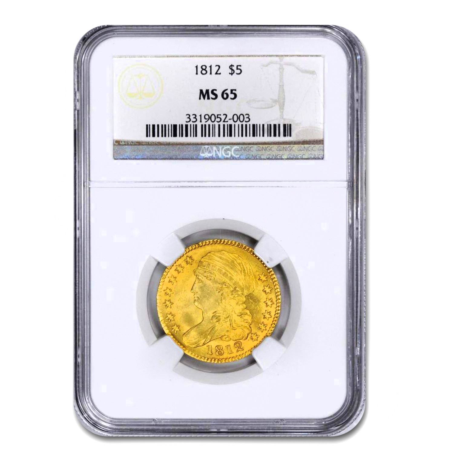 1812 Capped Bust $5 Gold Half Eagle MS-65 NGC