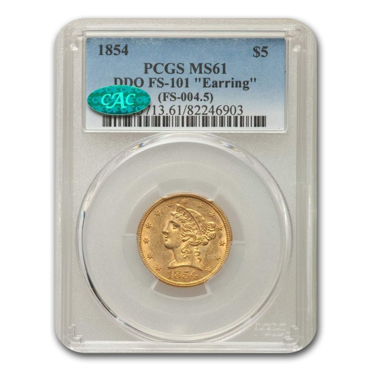 1854 $5 Liberty Gold Half Eagle MS-61 PCGS CAC (DDO FS-101)
