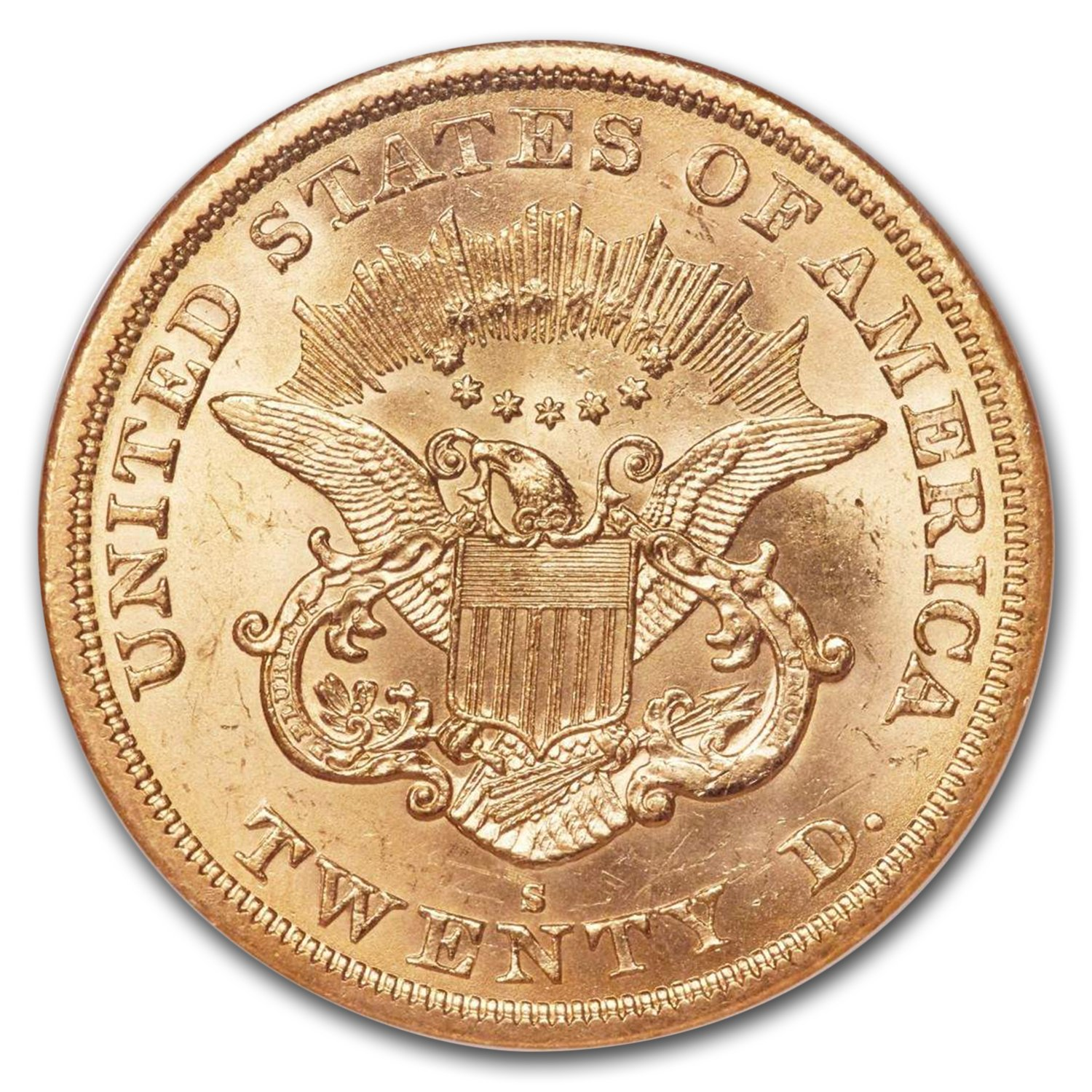 1863-S $20 Liberty Gold Double Eagle MS-63* NGC (Small S)
