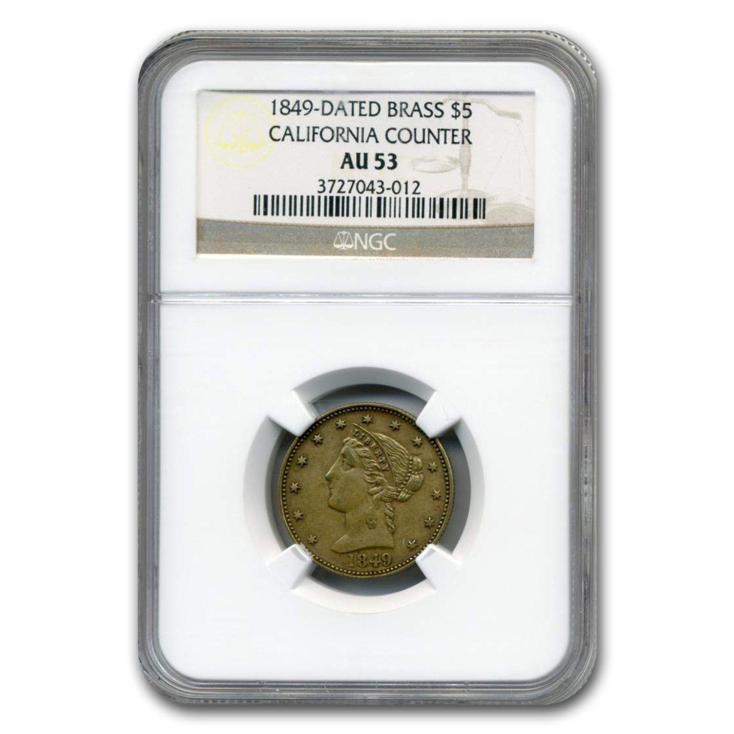 1849 Brass California Counter AU-53 NGC
