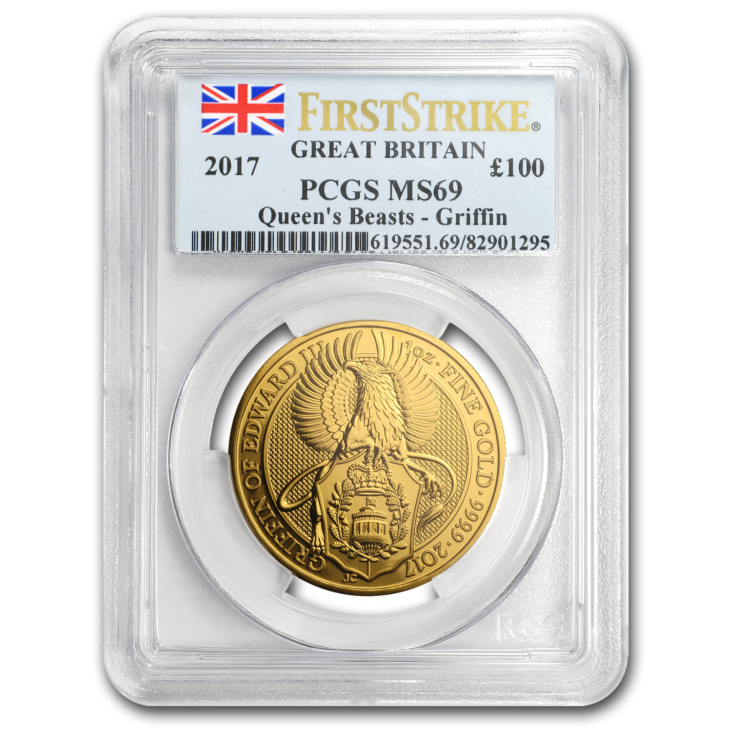 2017 GB 1 oz Gold Queen's Beasts The Griffin MS-69 PCGS (FS)