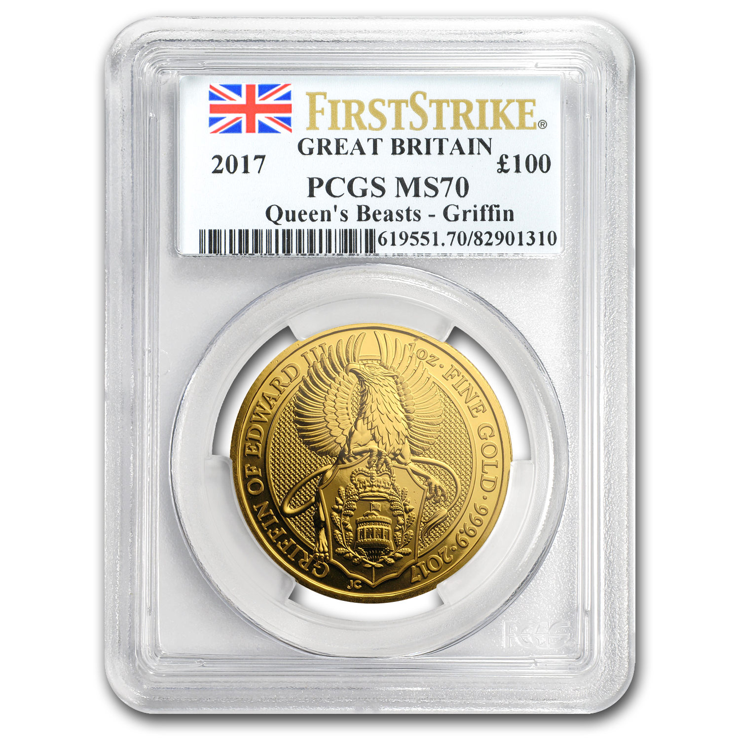 2017 GB 1 oz Gold Queen's Beasts The Griffin MS-70 PCGS (FS)