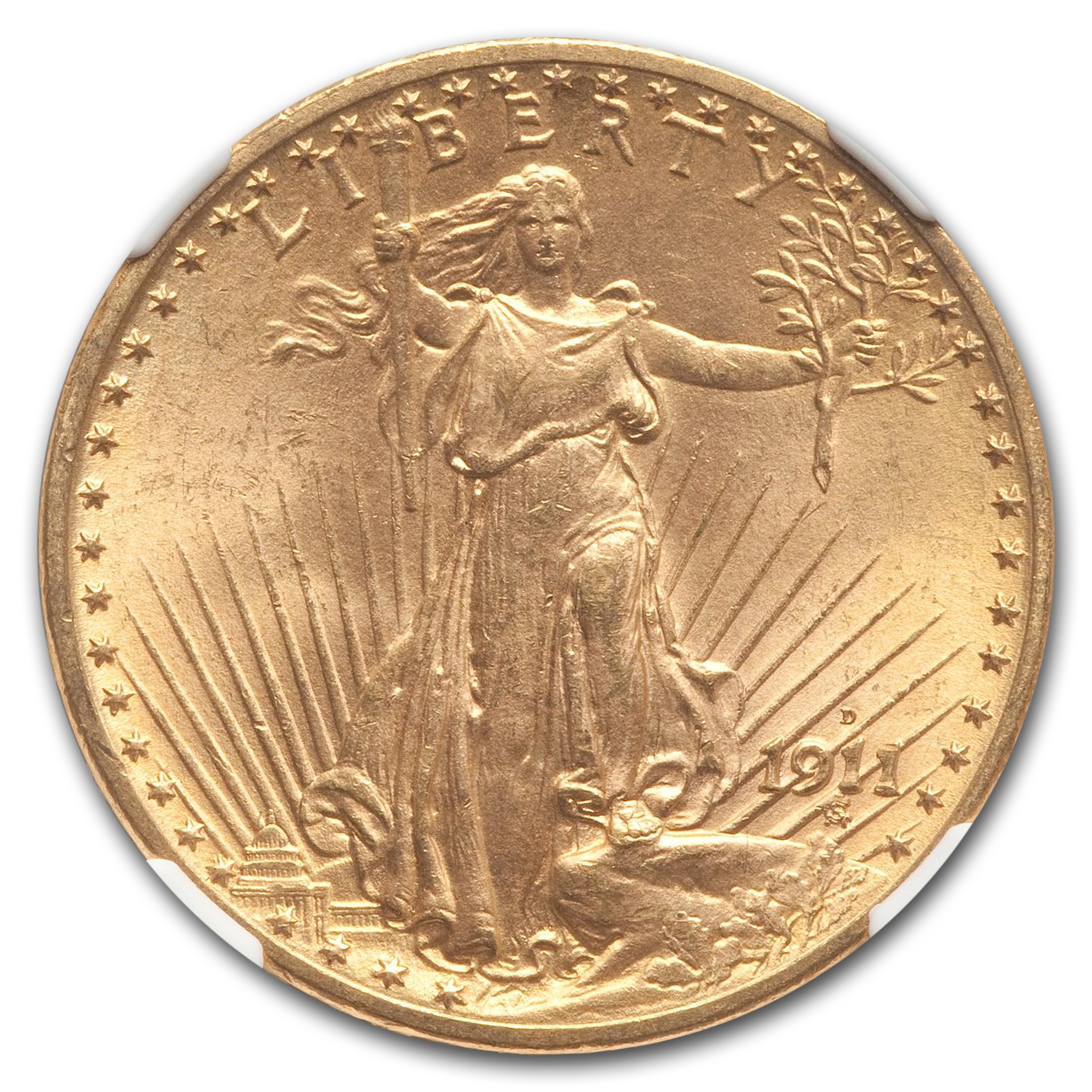 1911-D/D $20 St. Gaudens Gold Double Eagle MS-64 NGC (CAC,FS-501)