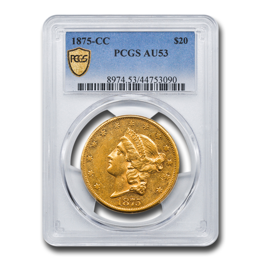 1875-CC $20 Liberty Gold Double Eagle AU-53 PCGS