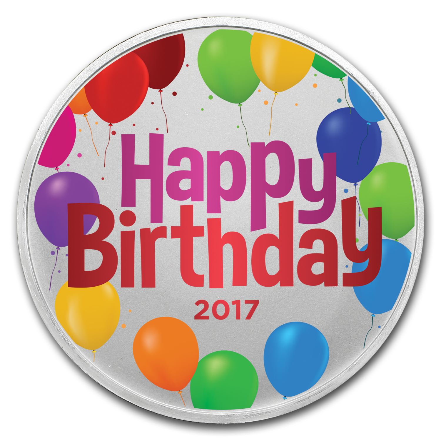 1 oz Silver Colorized Round - APMEX (Birthday Balloons)