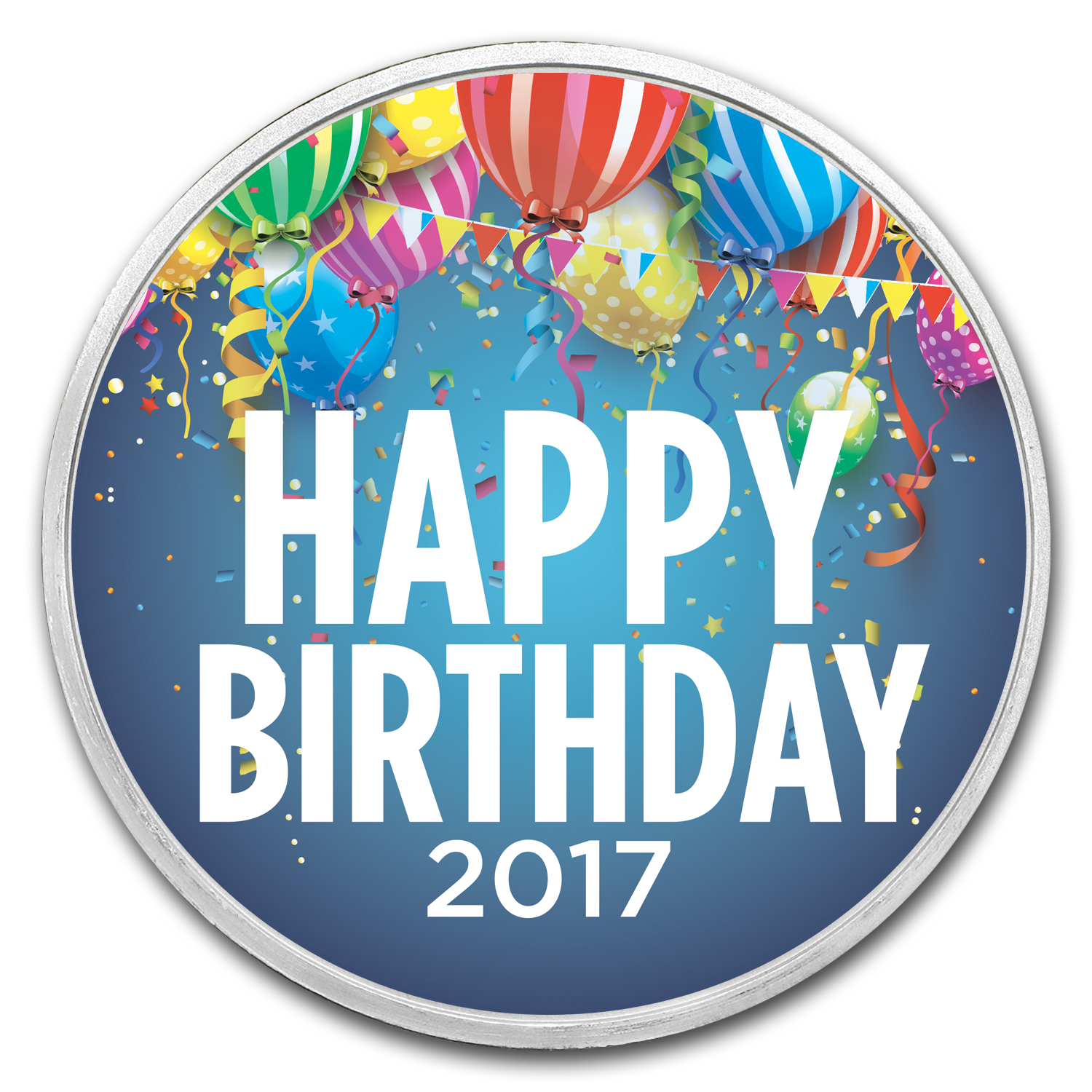 1 oz Silver Colorized Round - APMEX (Birthday Party - 2017)