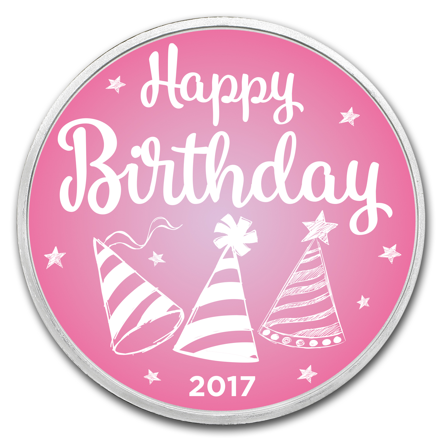 1 oz Silver Colorized Round - APMEX (Birthday Pink - 2017)