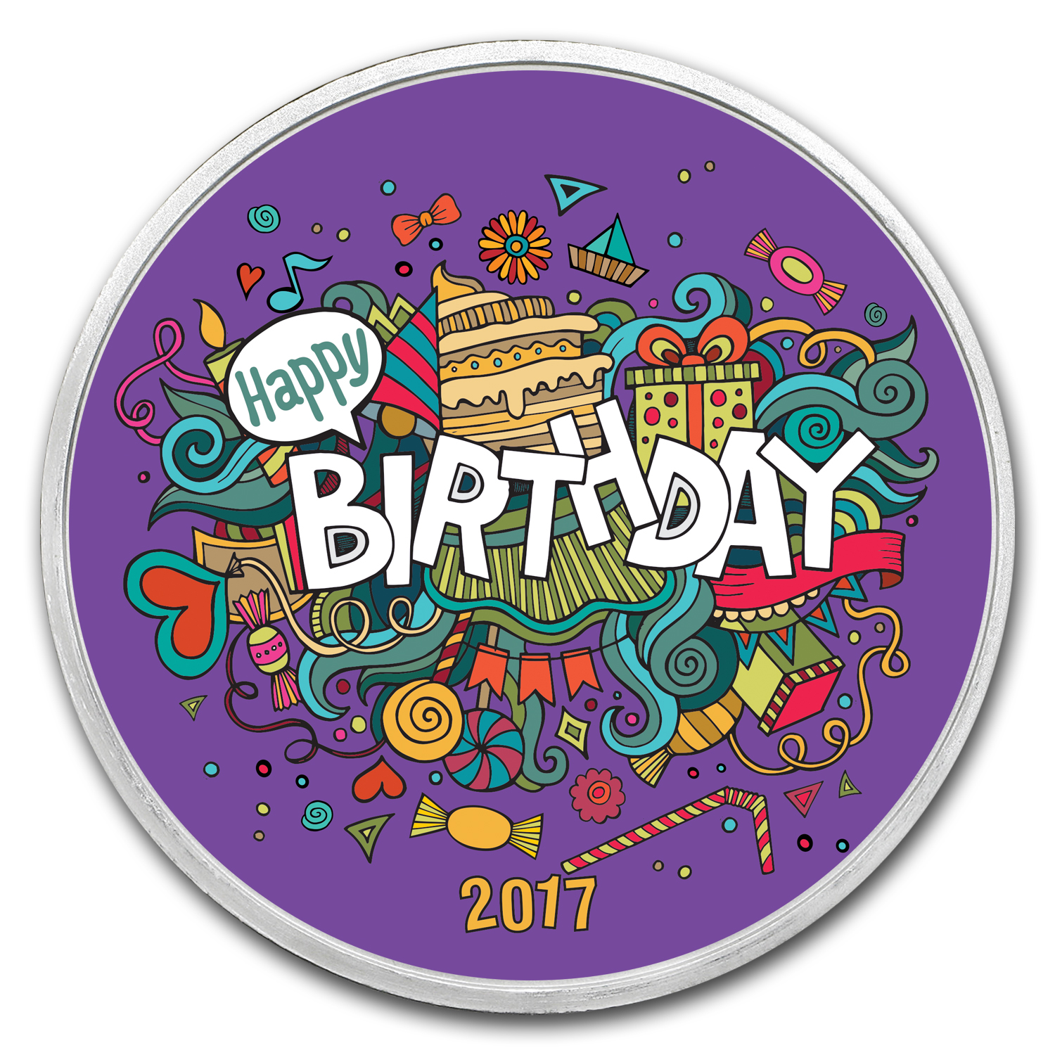 1 oz Silver Colorized Round - APMEX (Birthday Fiesta - 2017)
