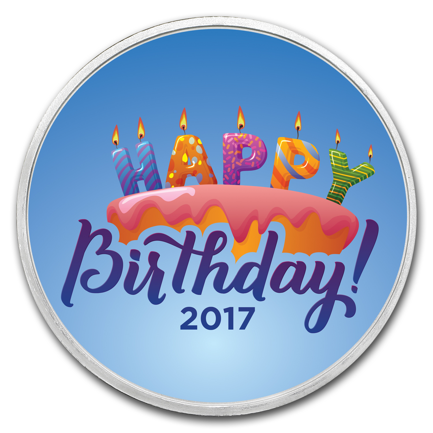 1 oz Silver Colorized Round - APMEX (Birthday Candles - 2017)