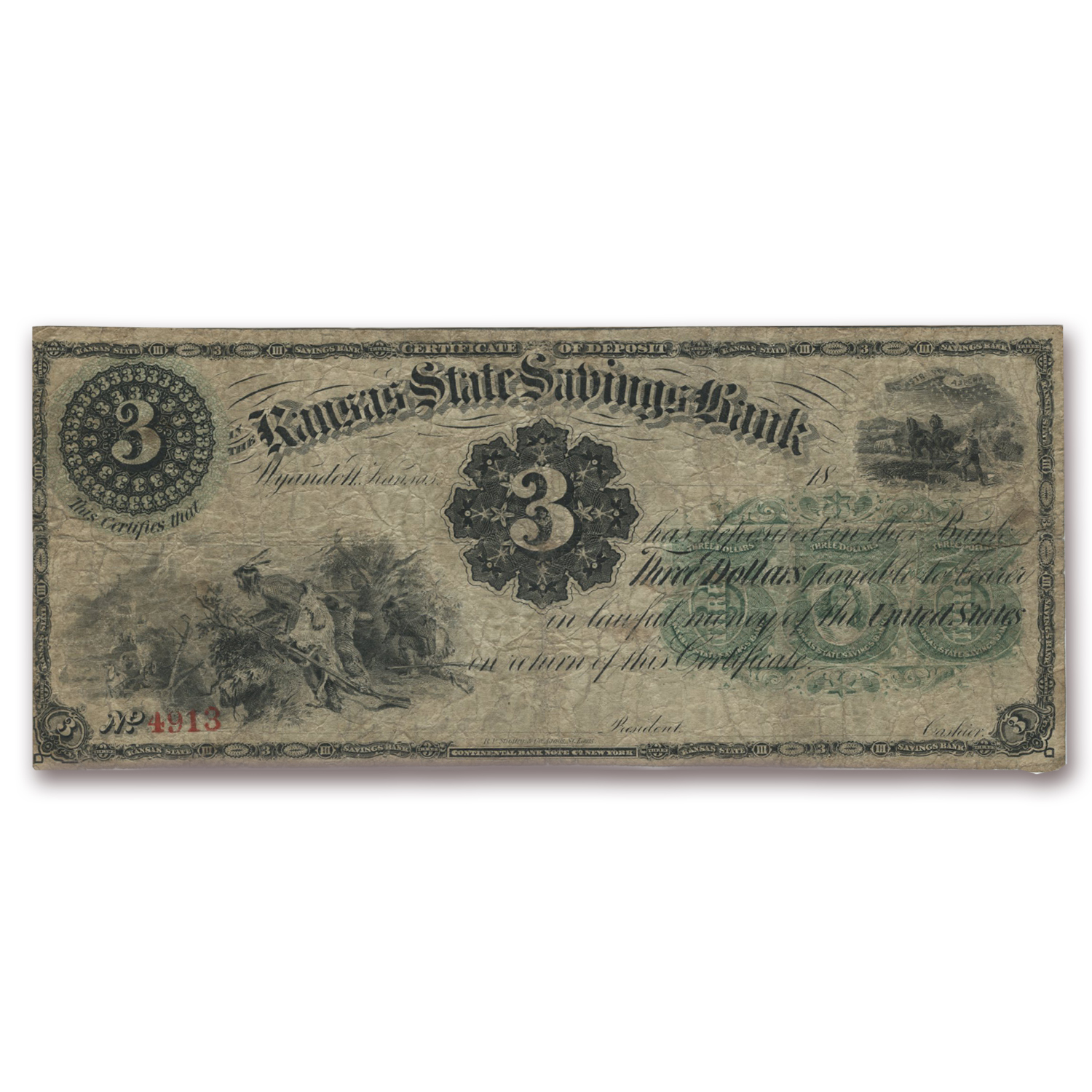 18__ $3.00 Kansas State Savings Bank, Wyandotte, KS Cert Deposit