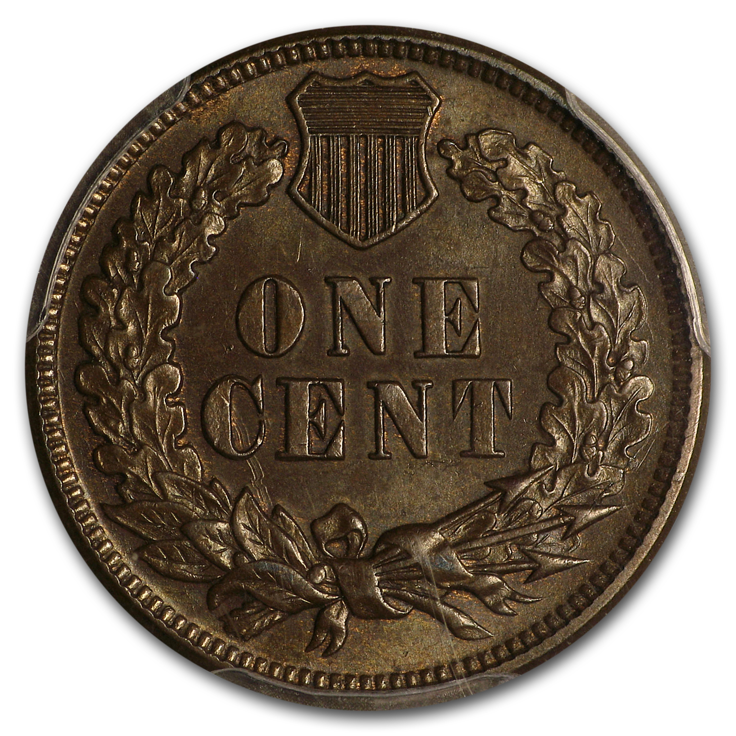 1873 Indian Head Cent Open 3 MS-62 PCGS (Brown)