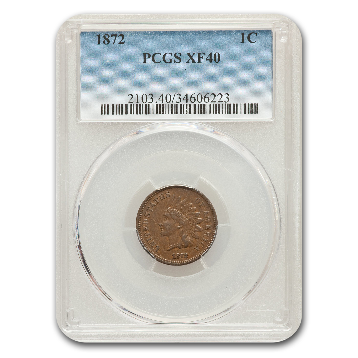1872 Indian Head Cent XF-40 PCGS
