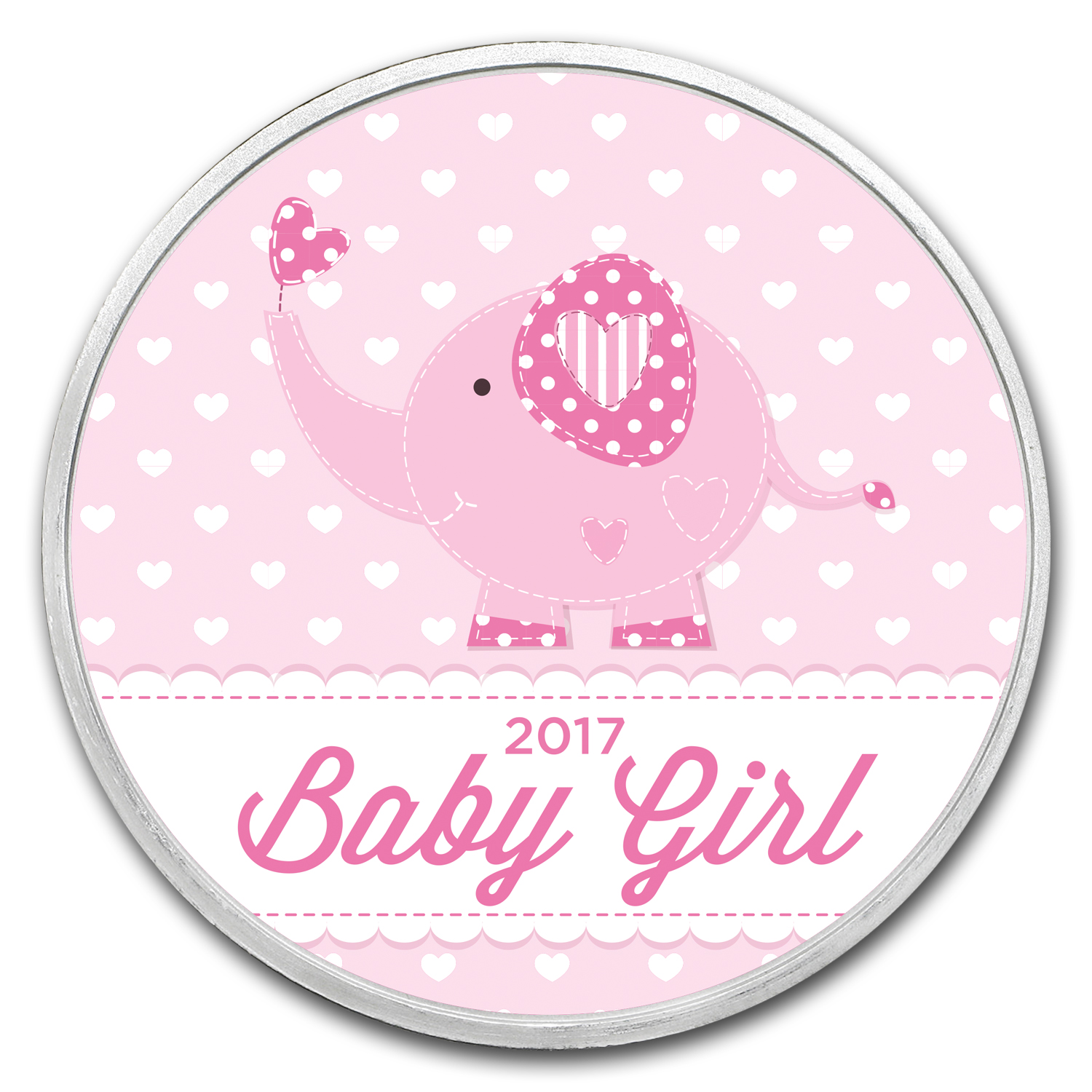 1 oz Silver Colorized Round - APMEX (Baby Girl Pink)
