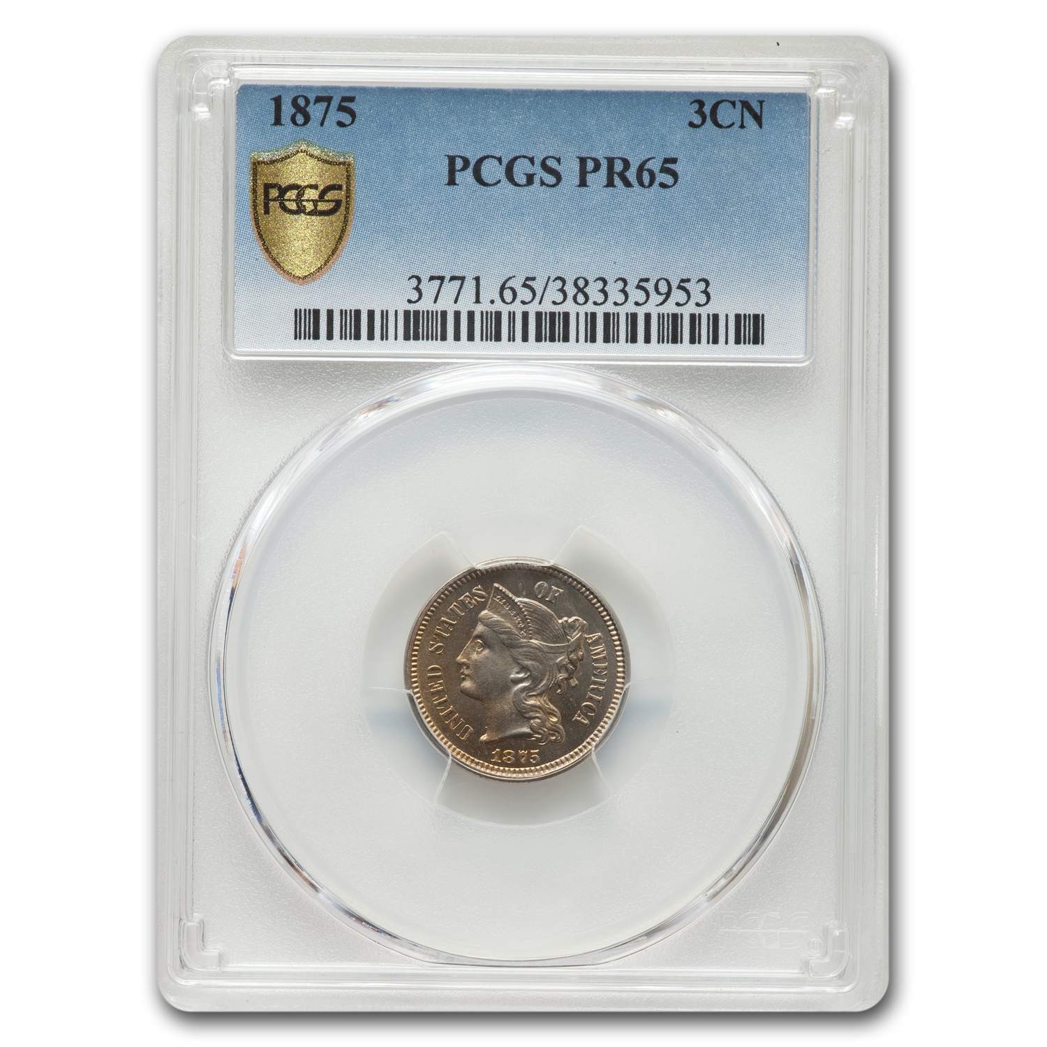 1875 Three Cent Nickel PR-65 PCGS
