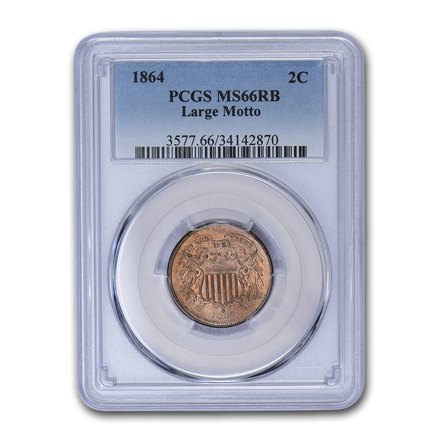 1864 Two Cent Piece Large Motto MS-66 PCGS (Red/Brown)