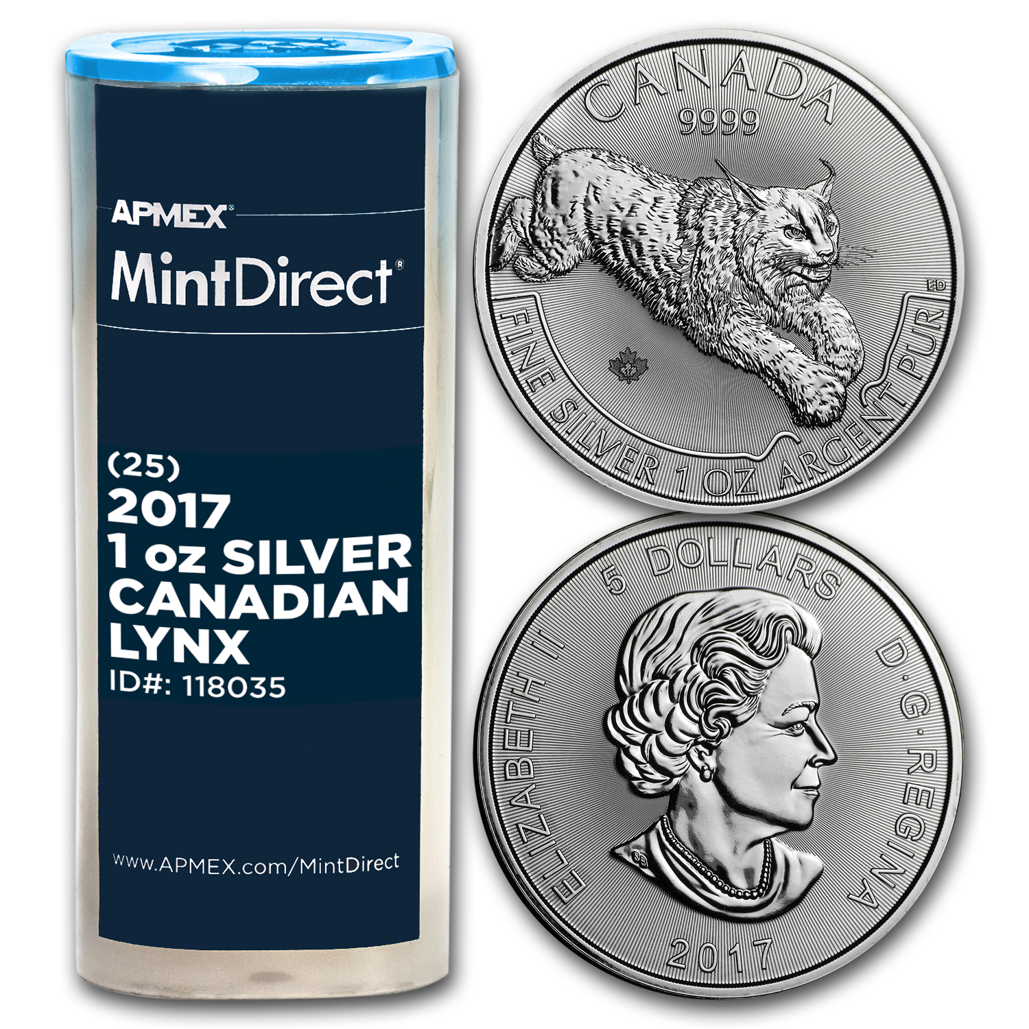 2017 Canada 1 oz Silver Predator Lynx (25-Coin MintDirect® Tube)