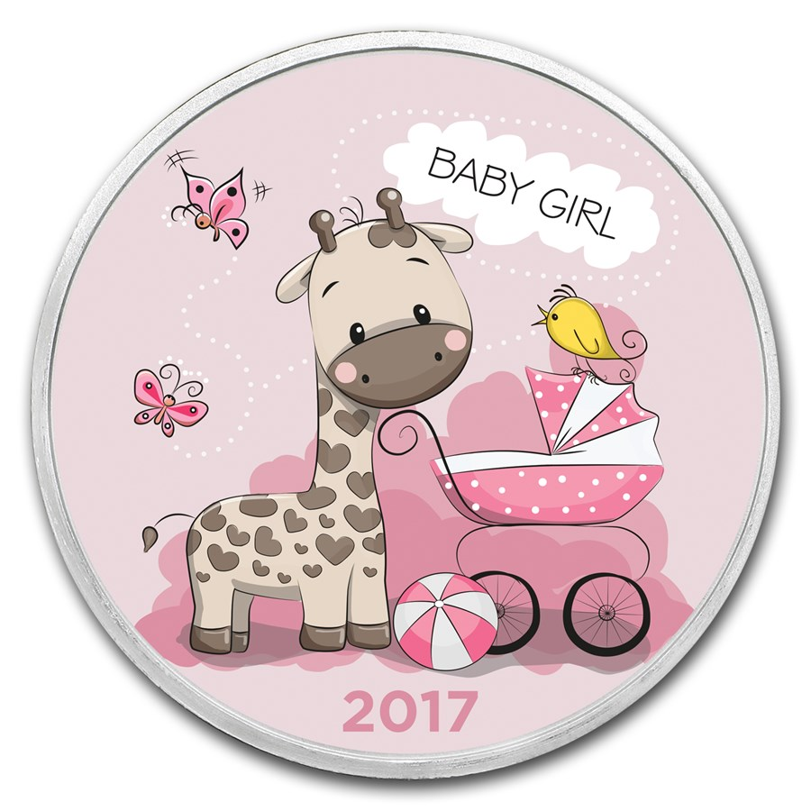 1 Oz Silver Colorized Round Apmex Baby Girl 2017