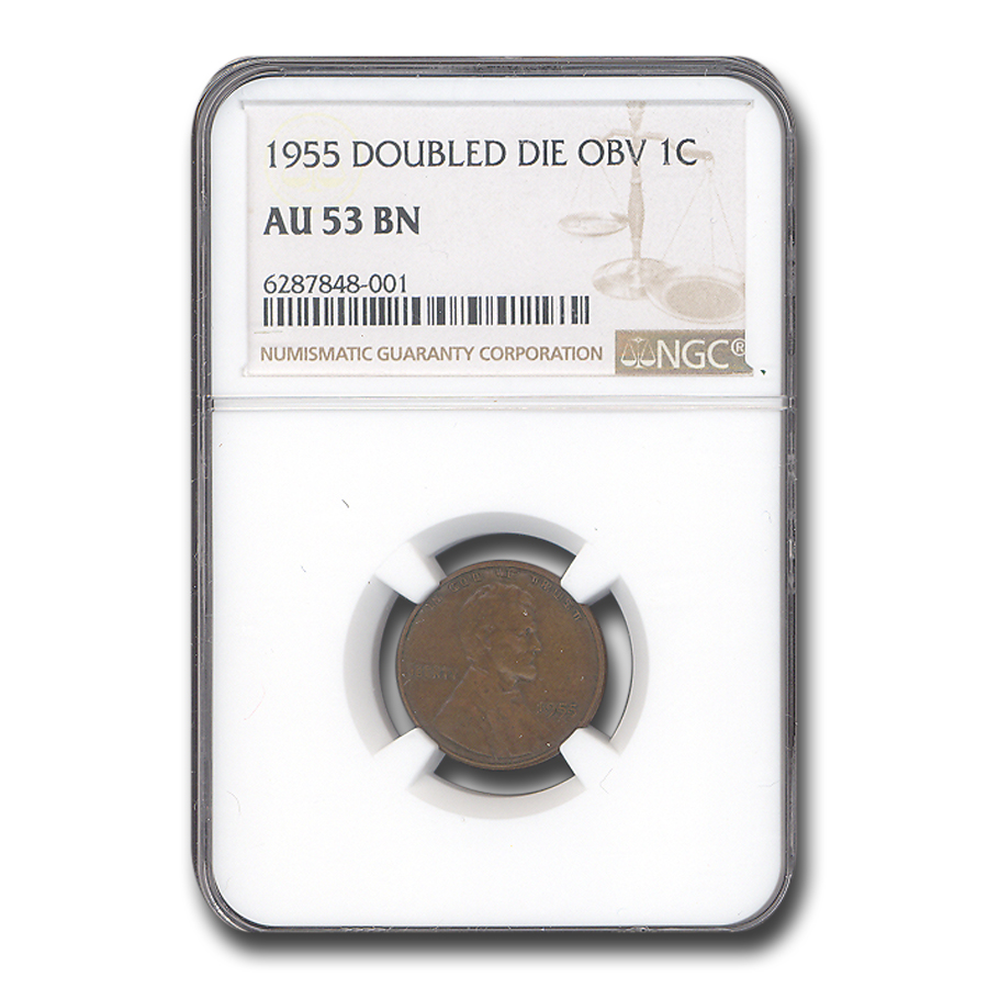 1955 Lincoln Cent Doubled Die Obverse AU-53 NGC