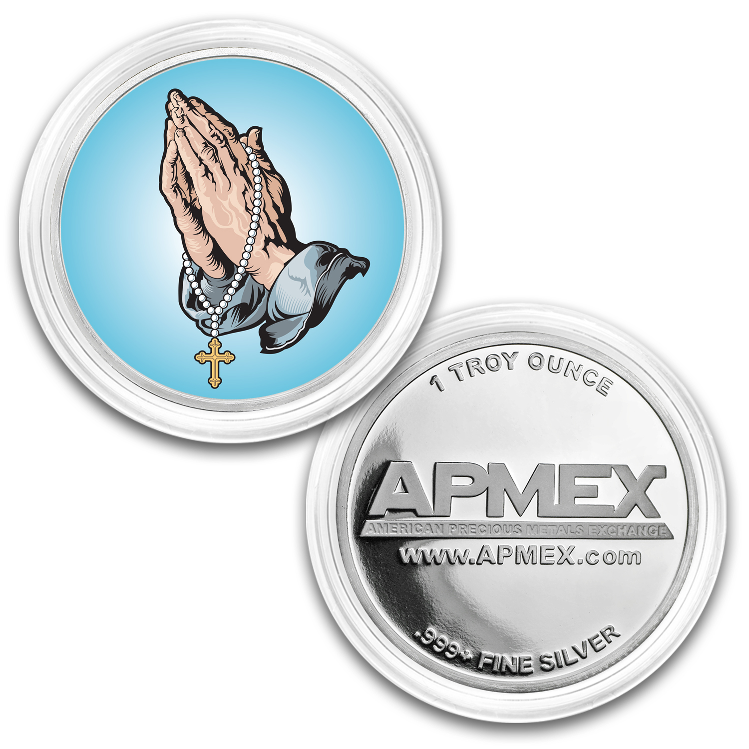 1 oz Silver Colorized Round - APMEX (Praying Hands)