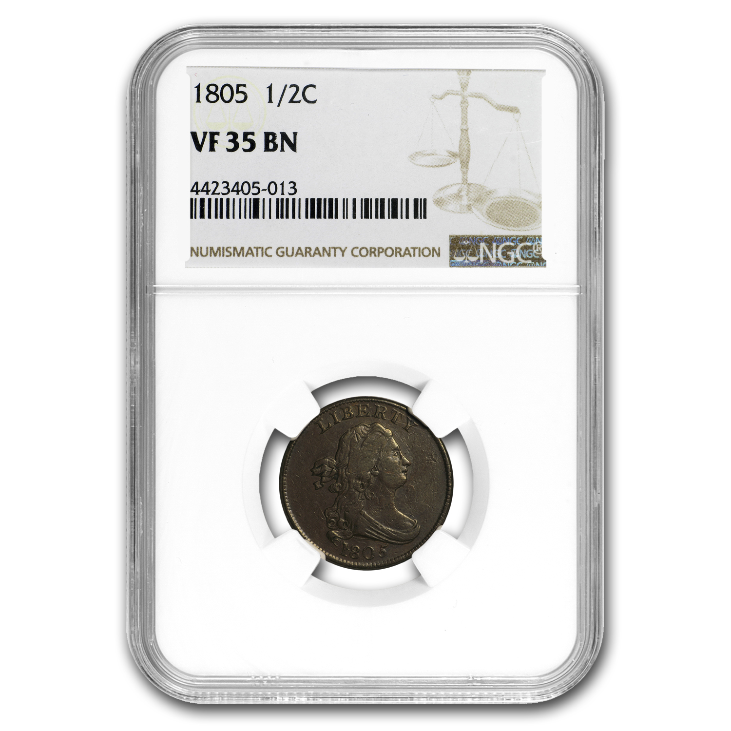 1805 Half Cent Large 5 w/Stems VF-35 NGC
