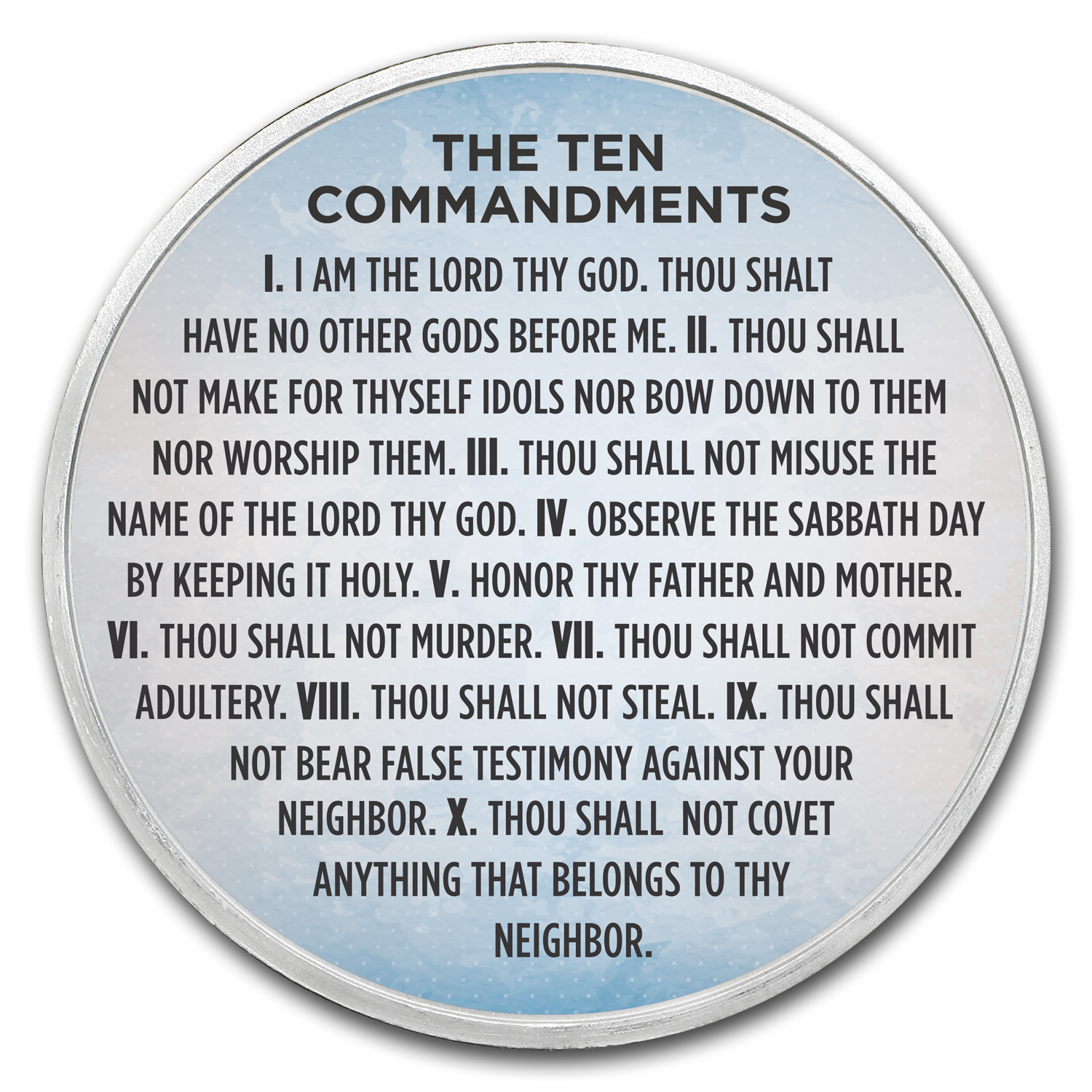 1 oz Silver Colorized Round - APMEX (Ten Commandments Sky Blue)