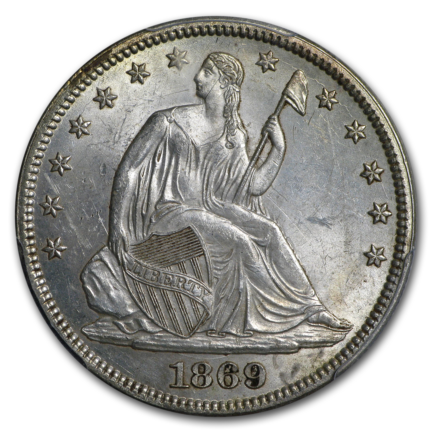 1869 Liberty Seated Half Dollar MS-63 PCGS