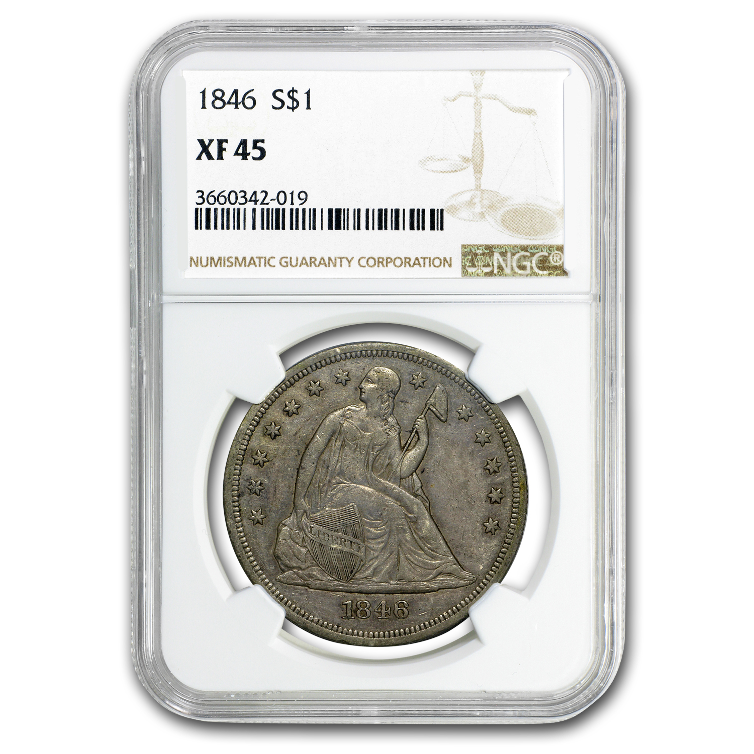 1846 Liberty Seated Dollar XF-45 NGC