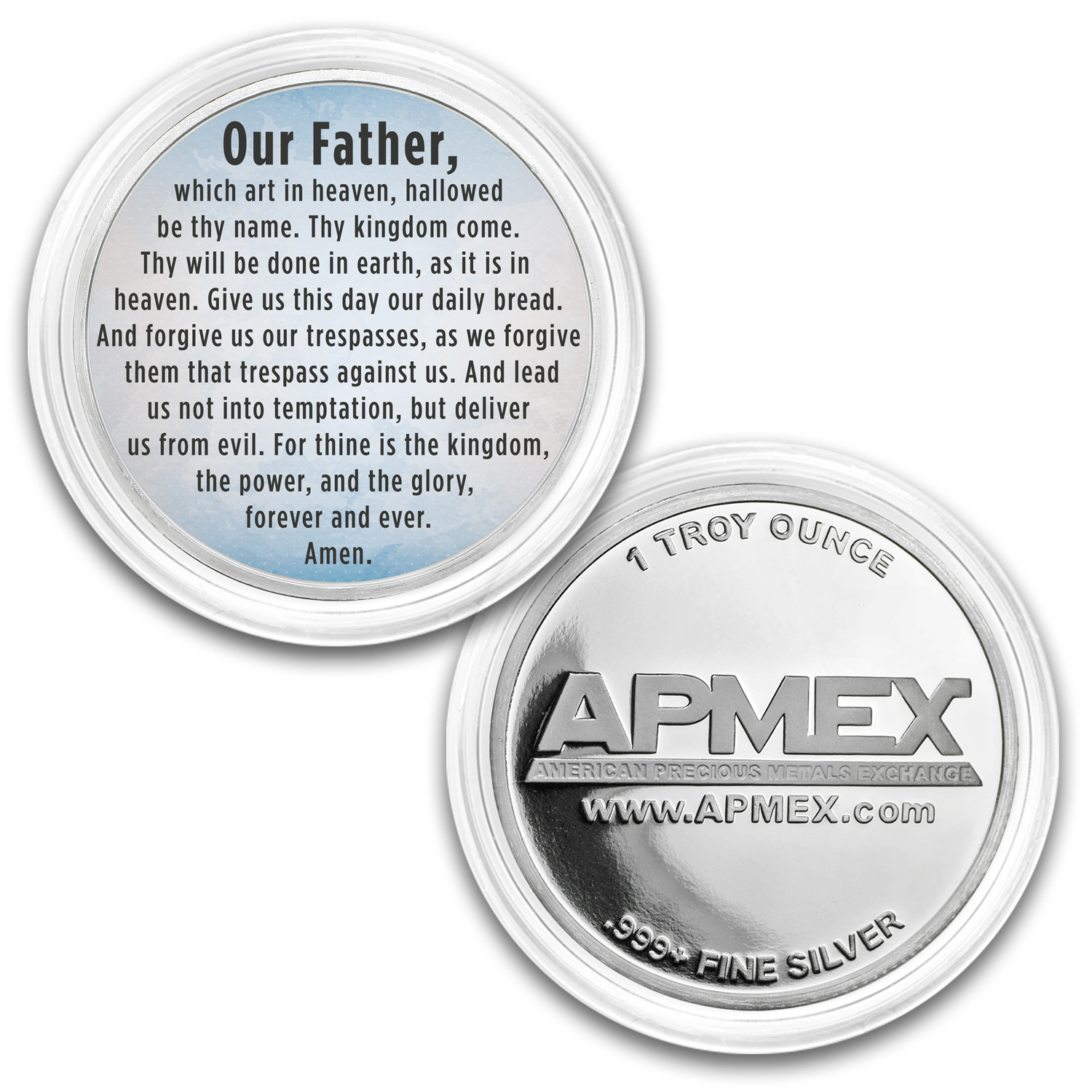 1 oz Silver Colorized Round - APMEX (The Lord's Prayer, Sky Blue)