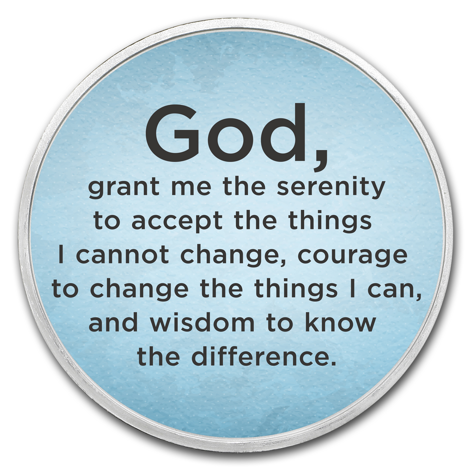 1 oz Silver Colorized Round - APMEX (Serenity Prayer, Sky Blue)