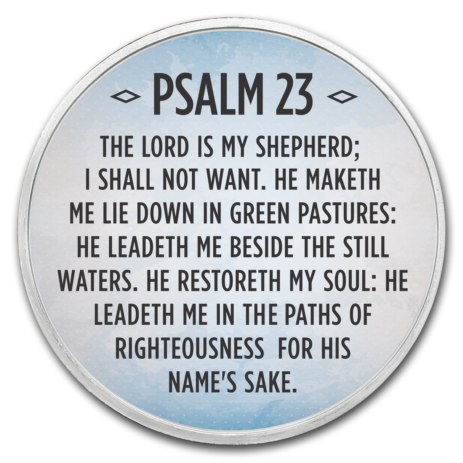 1 Oz Silver Colorized Round Psalm 23 Sky Blue Religious