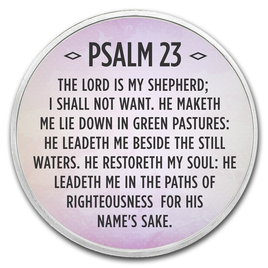 1 Oz Silver Colorized Round Psalm 23 Lavender Psalm 23