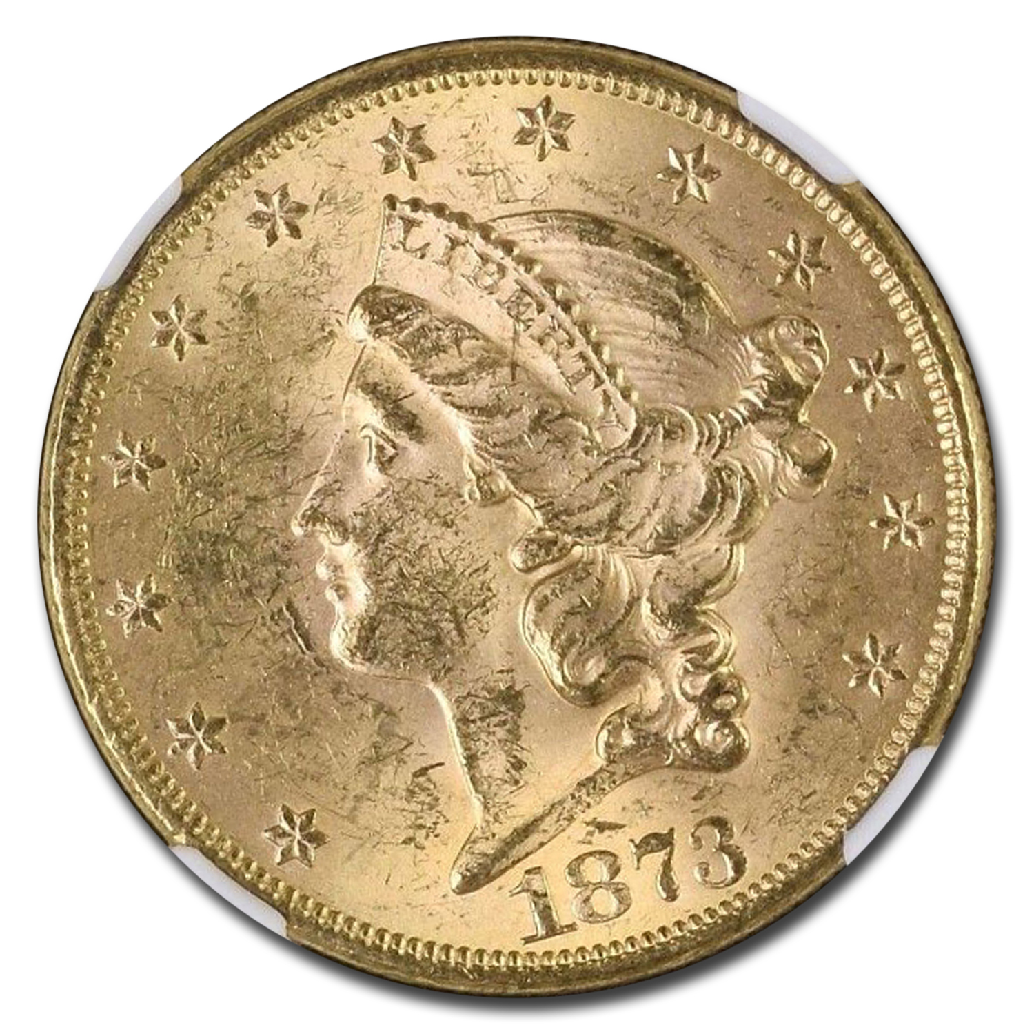 1873 $20 Liberty Gold Double Eagle MS-62 NGC (Open 3, DDO FS-101)
