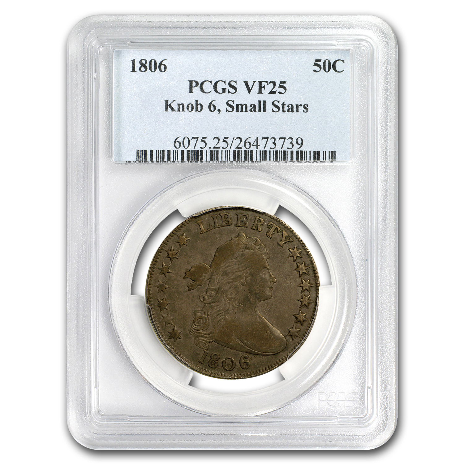 1806 Draped Bust Half Dollar Small 6, Small Stars VF-25 PCGS