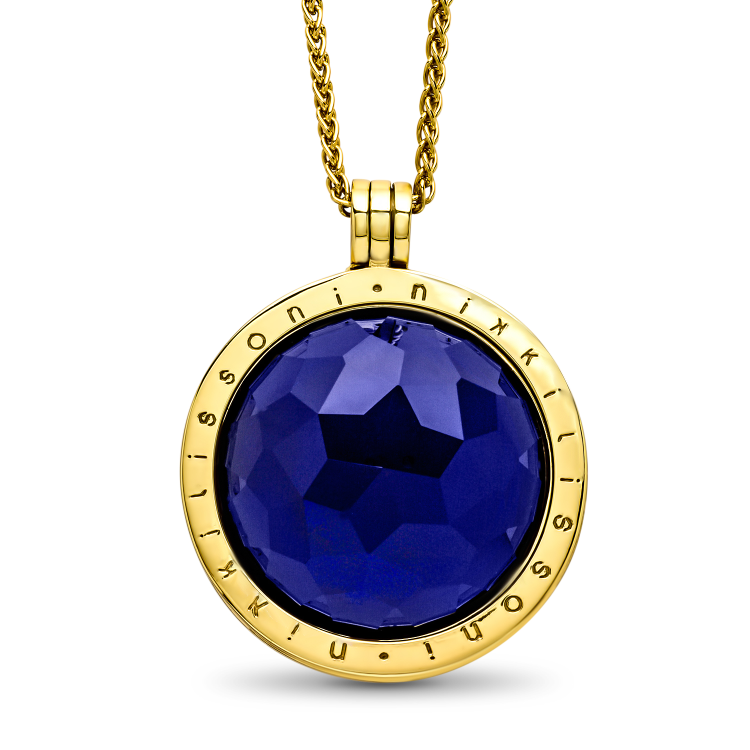Nikki Lissoni Faceted Dark Blue Glass 33 mm Pendant w/Chain