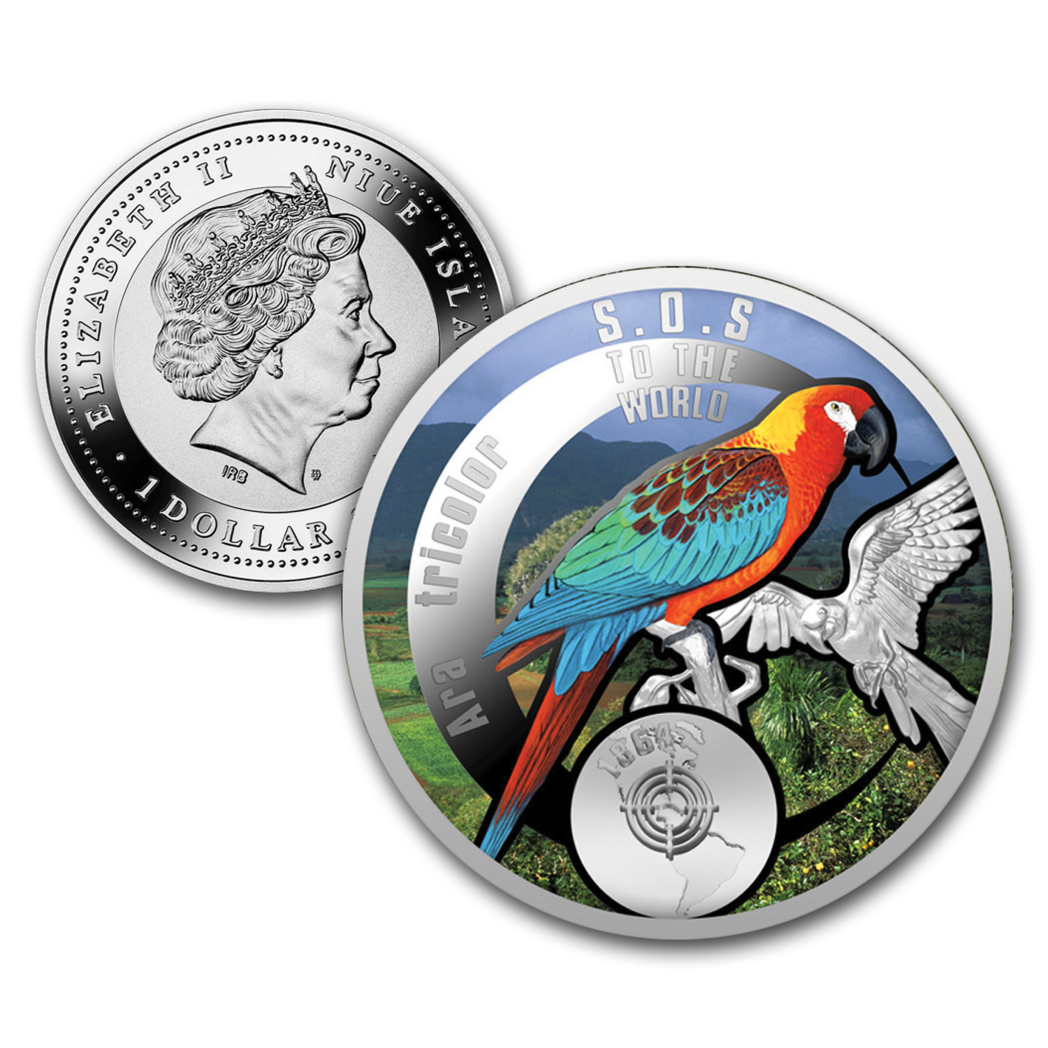 2016 Niue Silver SOS For The World They are Gone! (Cuban Macaw)