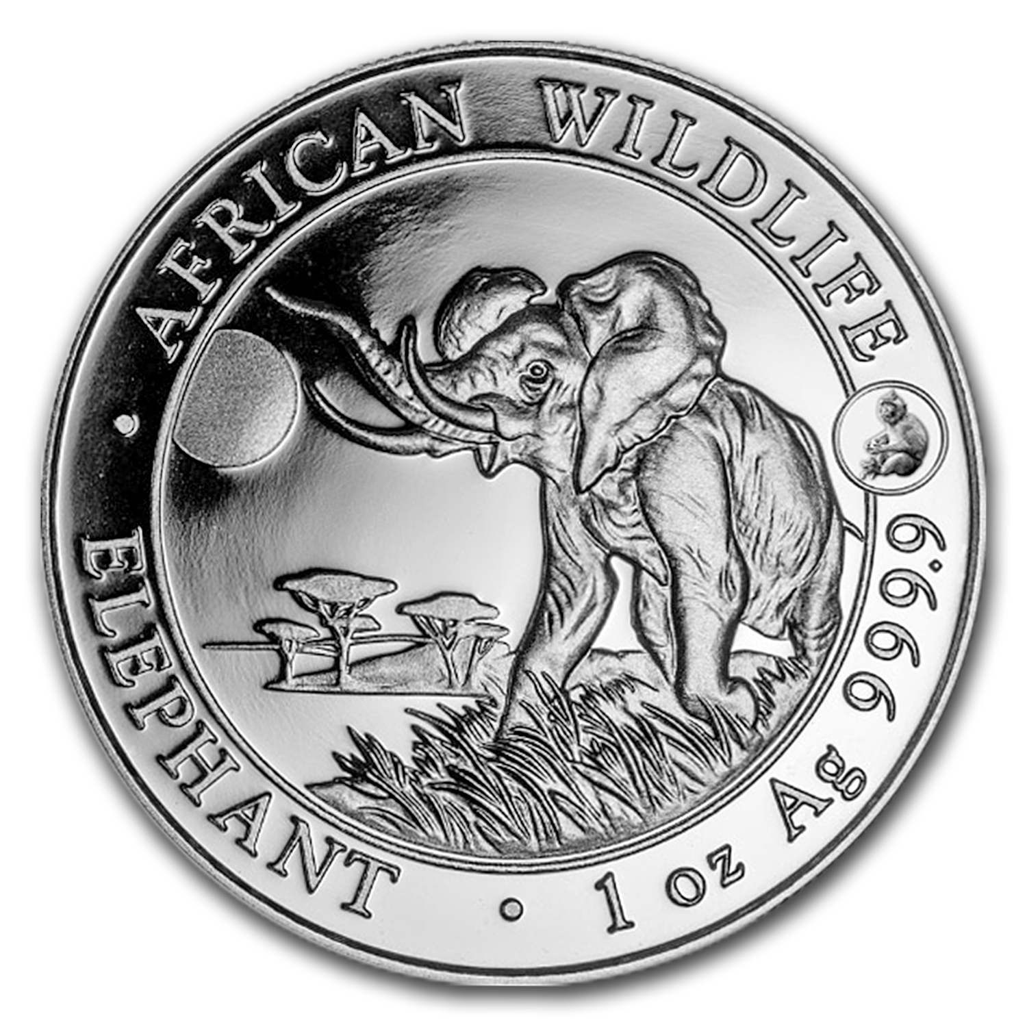 2016 Somalia 1 oz Silver Elephant BU (Monkey Privy)
