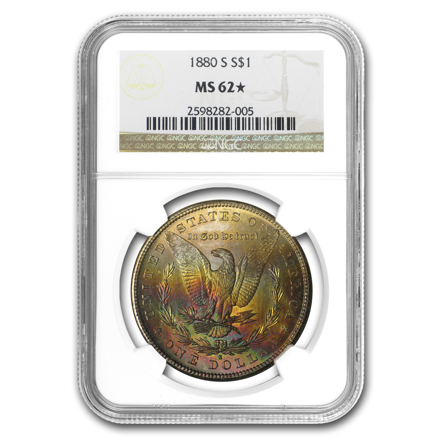 1880-S Morgan Dollar MS-62* NGC CAC (Beautiful Reverse Toning)