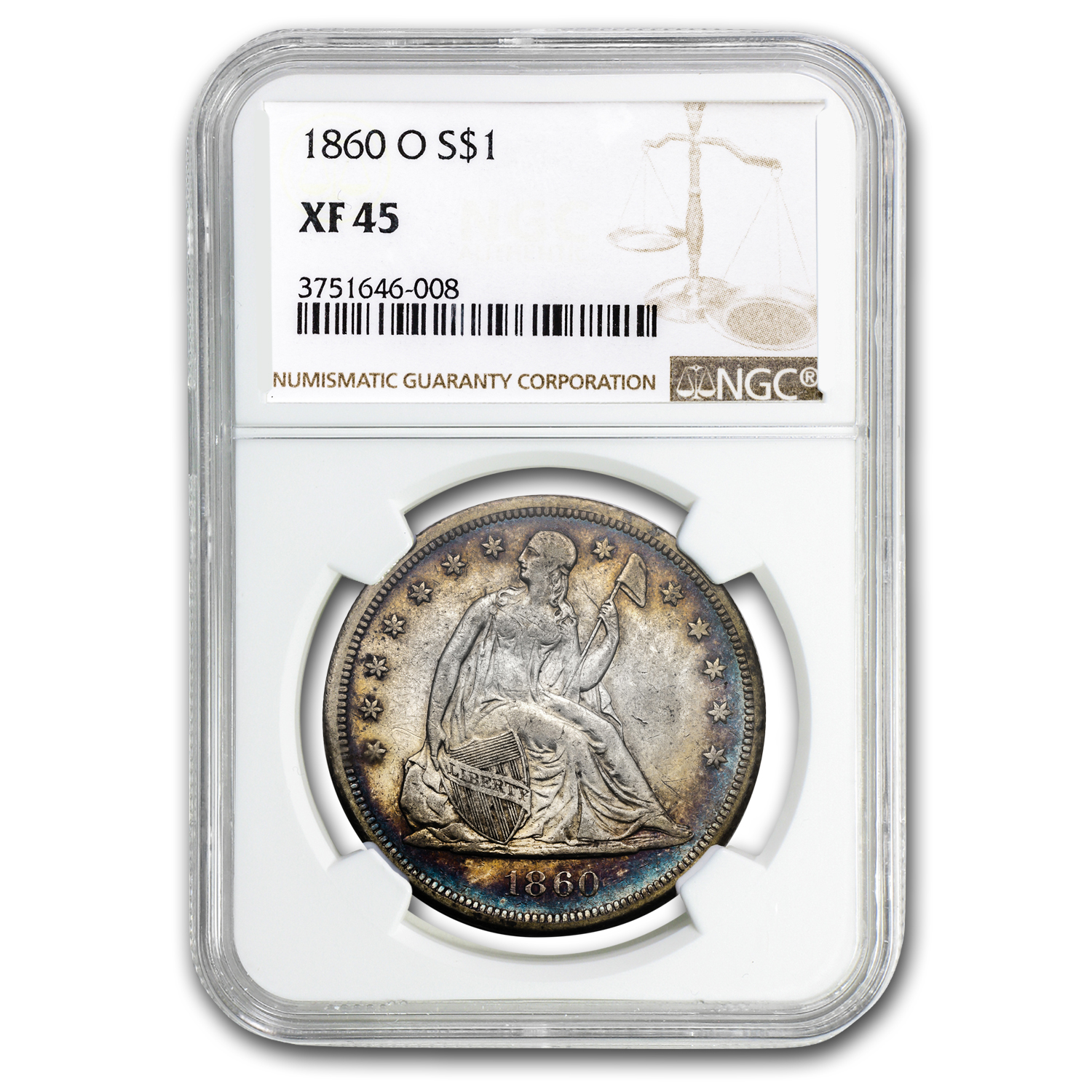 1860-O Liberty Seated Dollar XF-45 NGC