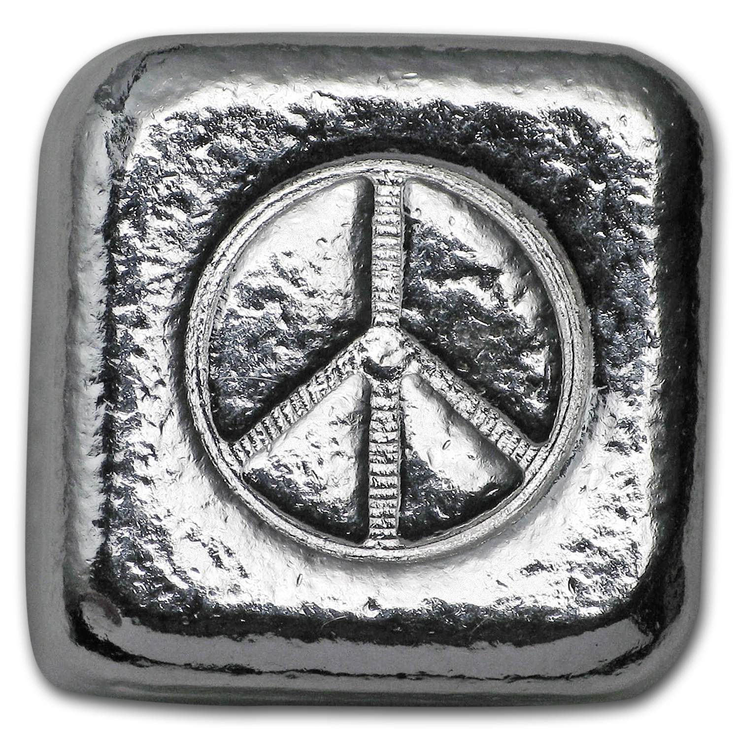 1 oz Silver Cube - Yeager Poured Silver (Peace Sign)