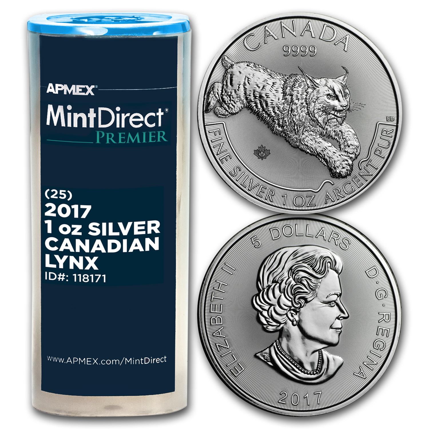 2017 Canada 1 oz Silver Lynx (25-Coin MintDirect® Premier Tube)