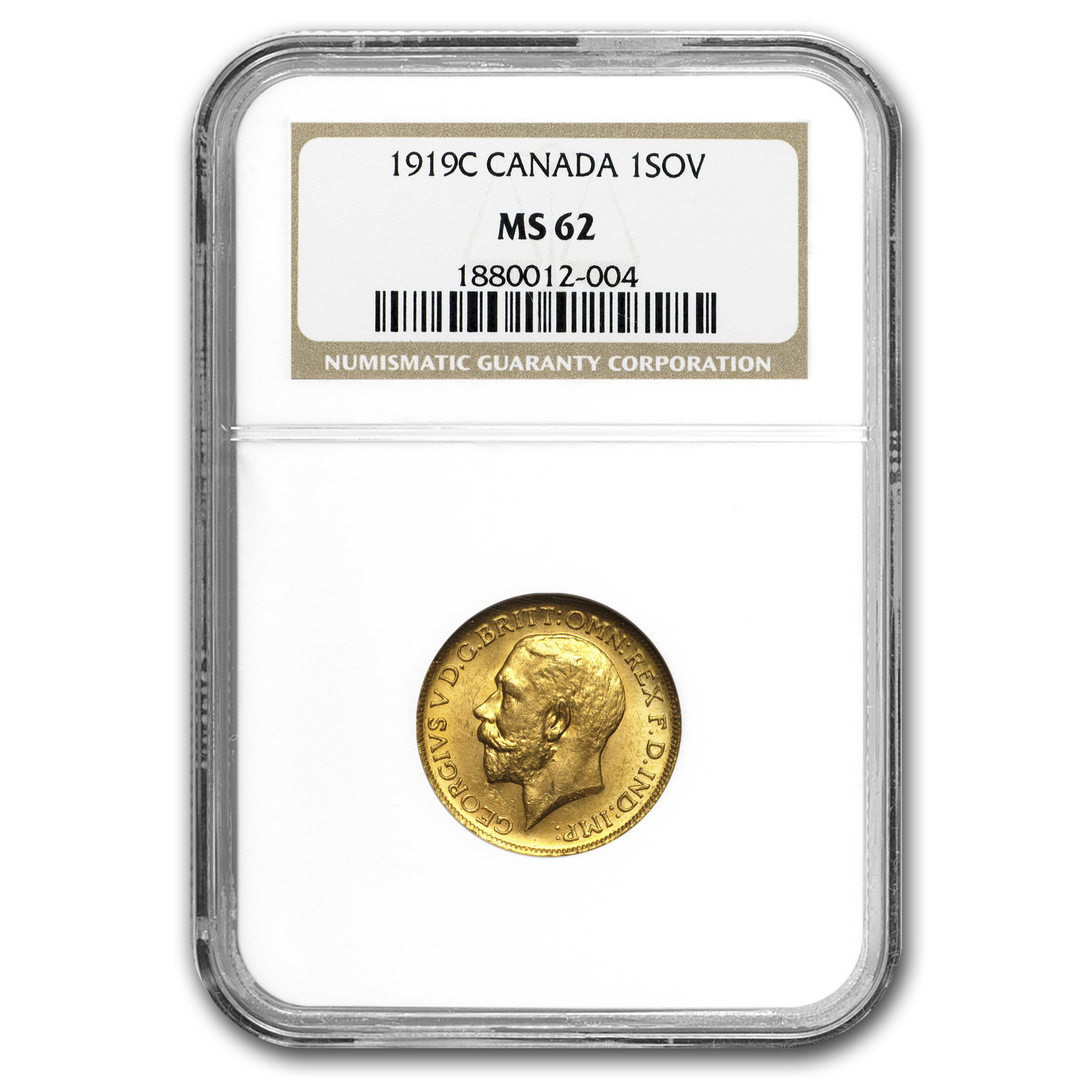 1919-C Canada Gold Sovereign MS-62 NGC