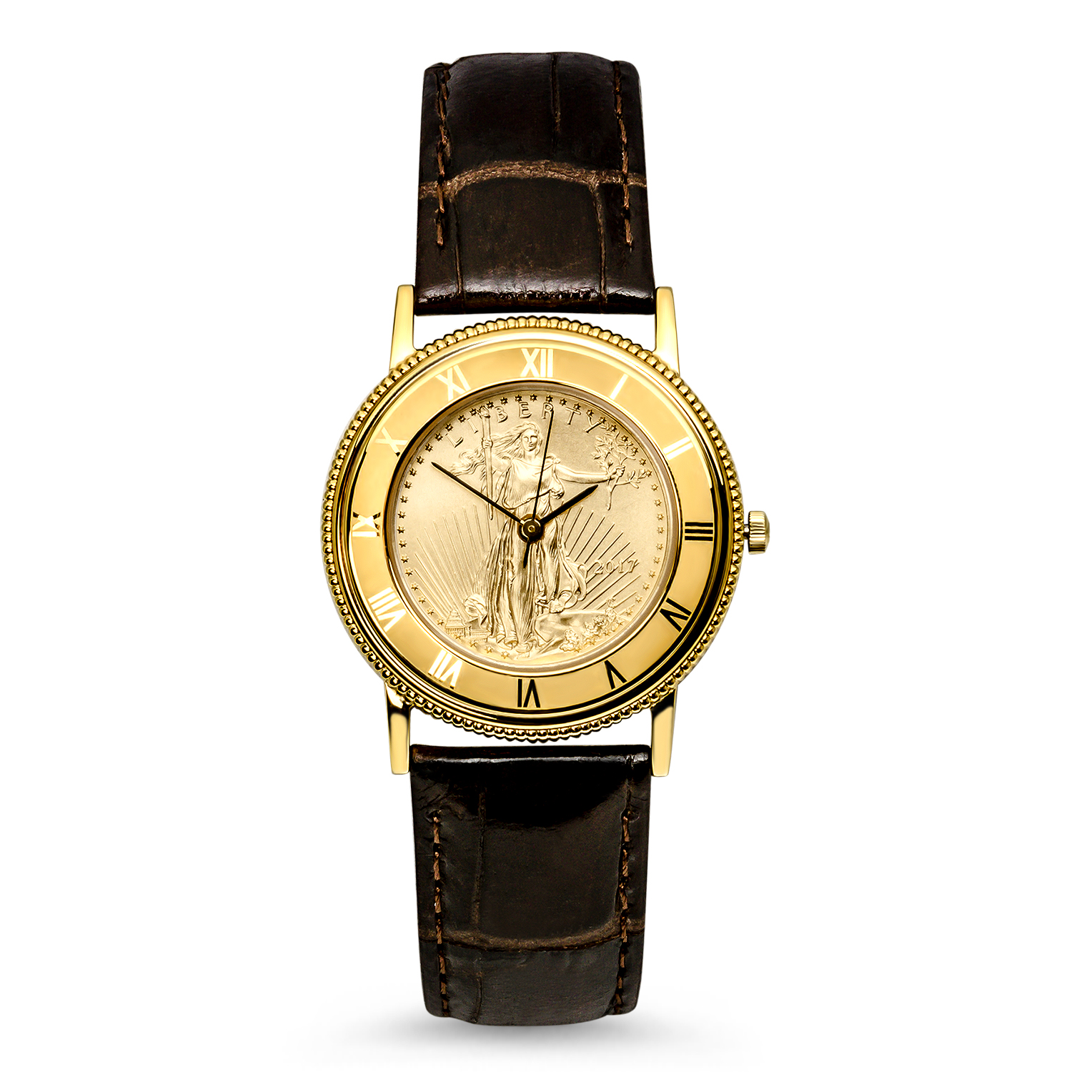 2017 1/4 oz Gold American Eagle Leather Band Watch