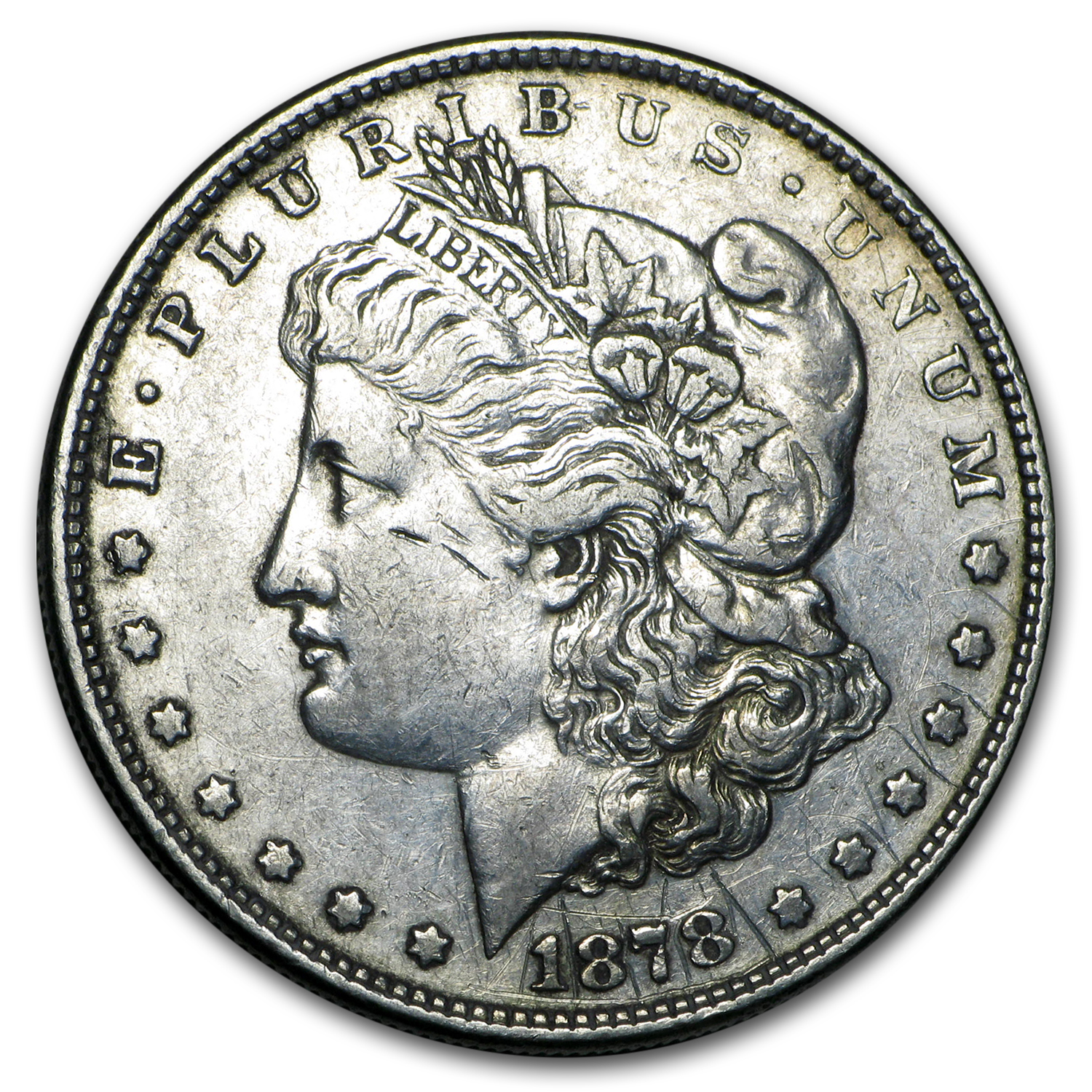 1878 Morgan Dollar 8 Tailfeathers XF Details (Cleaned)